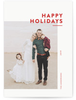 This is a red holiday photo card by Dozi called Editorial Holiday with standard printing on smooth signature in standard.