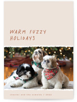 This is a beige holiday photo card by Merian called Warm Fuzzy with standard printing on signature in standard.