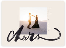 This is a beige holiday photo card by Anastasia Makarova called Big Cheers with standard printing on recycled smooth signature in standard.
