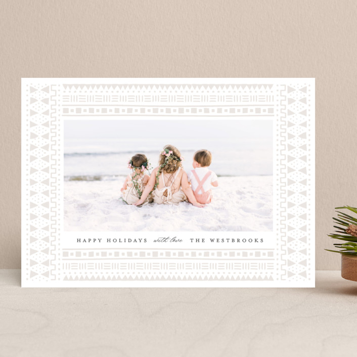 """""""mud cloth holiday"""" - Bohemian Holiday Photo Cards in Taupe by Erin Deegan."""