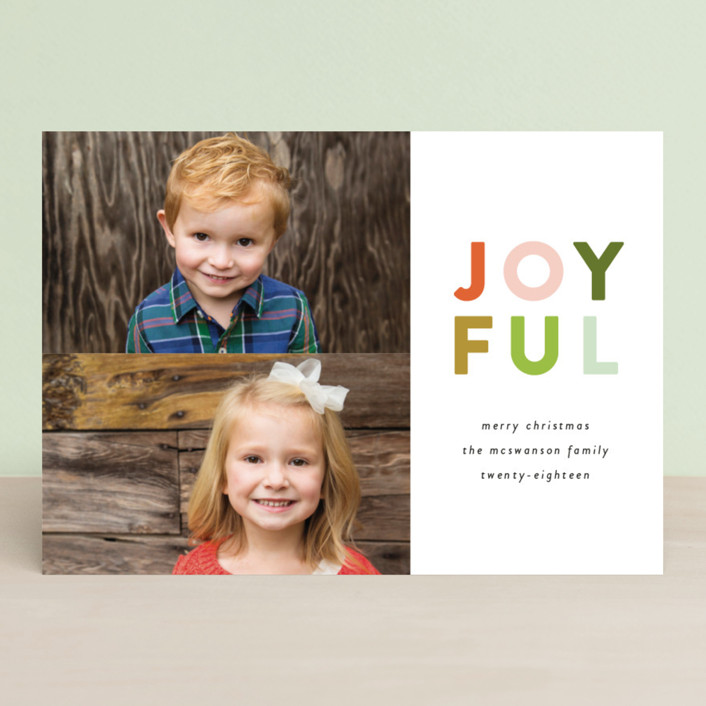 """""""Colorful Joyful"""" - Holiday Photo Cards in Tangerine by Genna Cowsert."""
