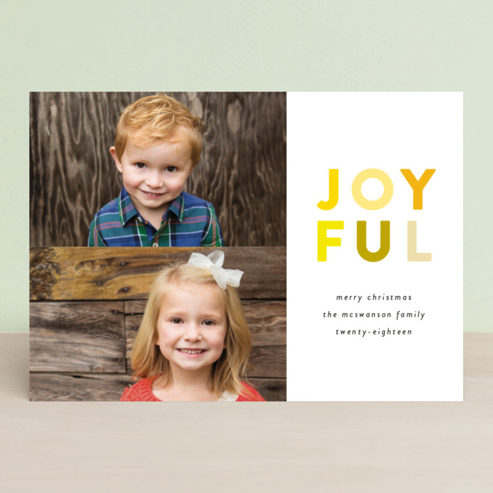 """Colorful Joyful"" - Holiday Photo Cards in Tangerine by Genna Cowsert."