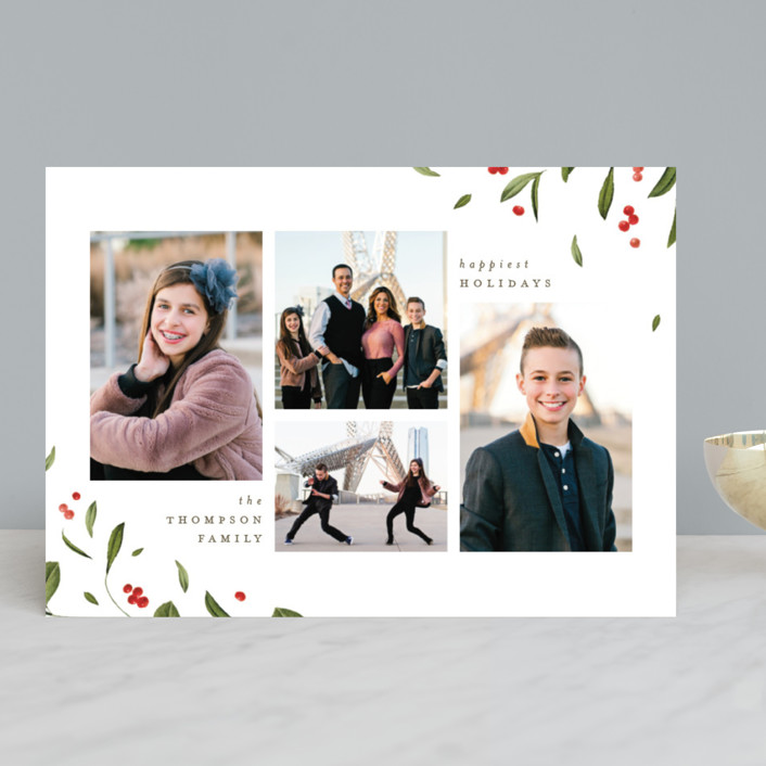 """""""Falling Berries"""" - Holiday Photo Cards in Snow by Robert and Stella."""