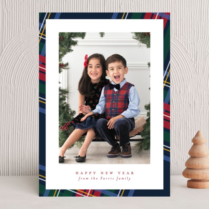 """""""Plaid framed"""" - Holiday Photo Cards in Navy by Lea Delaveris."""