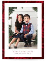This is a red holiday photo card by Lea Delaveris called Plaid framed with standard printing on smooth signature in standard.