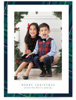 This is a green holiday photo card by Lea Delaveris called Plaid Framed with standard printing on recycled smooth signature in standard.