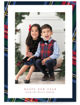 This is a blue holiday photo card by Lea Delaveris called Plaid framed with standard printing on smooth signature in standard.