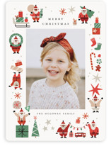 This is a red holiday photo card by Morgan Ramberg called Happy Santas with standard printing on smooth signature in standard.