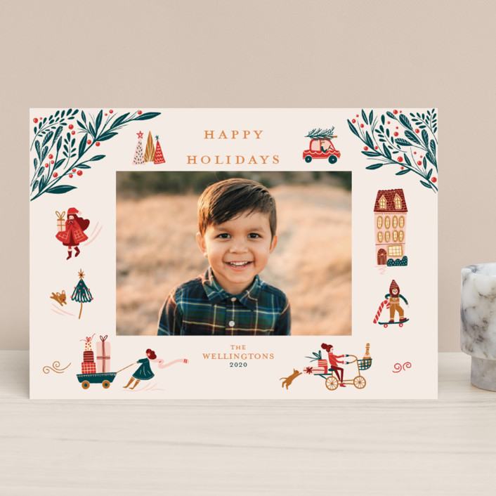 """Holiday Season"" - Vintage Holiday Photo Cards in Cream by Vivian Yiwing."