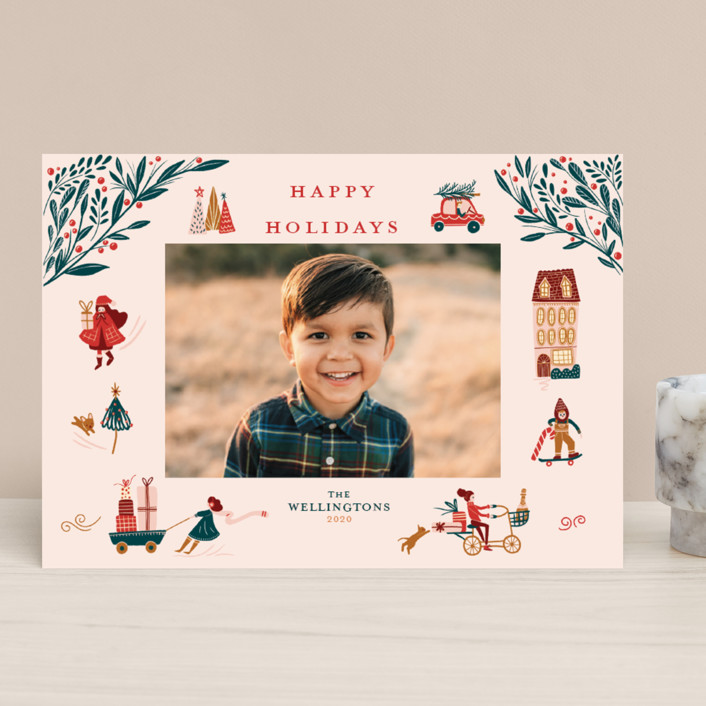 """""""Holiday Season"""" - Vintage Holiday Photo Cards in Pink by Vivian Yiwing."""