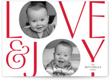 This is a red holiday photo card by Kimberly FitzSimons called In Love and Joy with standard printing on smooth signature in standard.