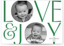 This is a green holiday photo card by Kimberly FitzSimons called In Love and Joy with standard printing on smooth signature in standard.