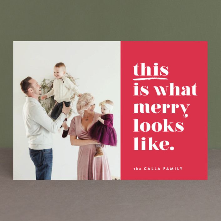 """""""this is merry"""" - Funny Holiday Photo Cards in Mixed Berry by Carrie ONeal."""