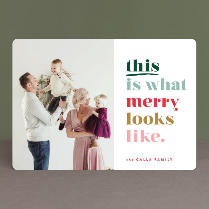 """this is merry"" - Funny Holiday Photo Cards in Mixed Berry by Carrie ONeal."