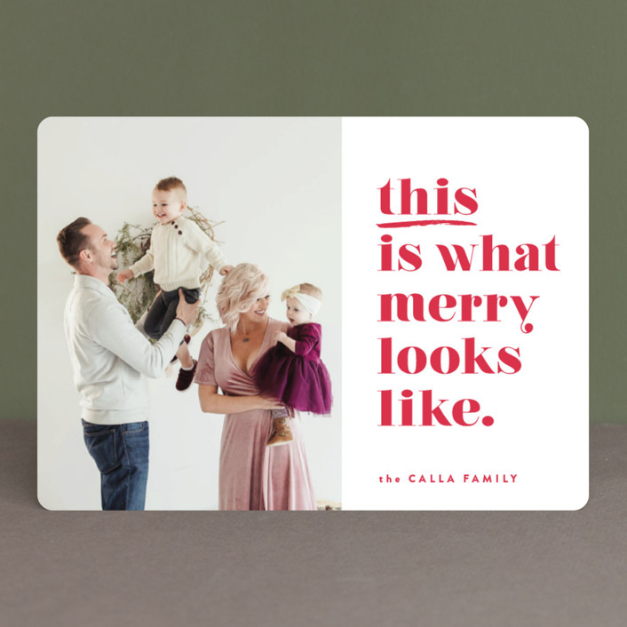 """this is merry"" - Funny Holiday Photo Cards in Candy Canes by Carrie ONeal."