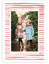 This is a red holiday photo card by Leah Bisch called Candy Stripe with standard printing on smooth signature in standard.