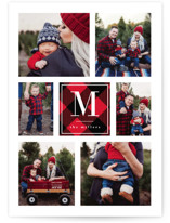 This is a red holiday photo card by Kelly Schmidt called Plaid Monogram with standard printing on smooth signature in standard.