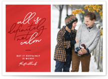 This is a red holiday photo card by Jessica Corliss called Definitely Not Calm with standard printing on smooth signature in standard.