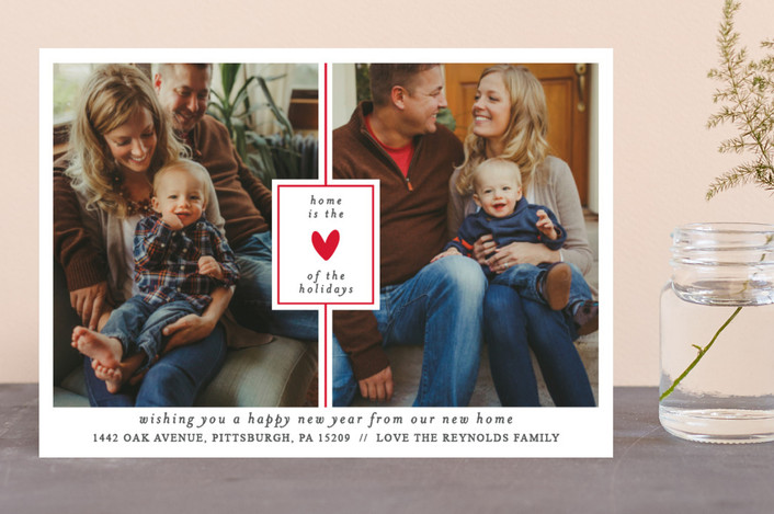 """the heart of the holidays"" - Holiday Photo Cards in Poppy by Bethan."