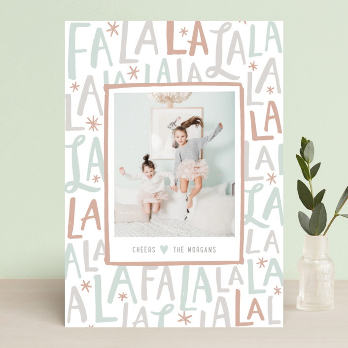 """Festive FaLaLa"" - Holiday Photo Cards in Mint by Hooray Creative."