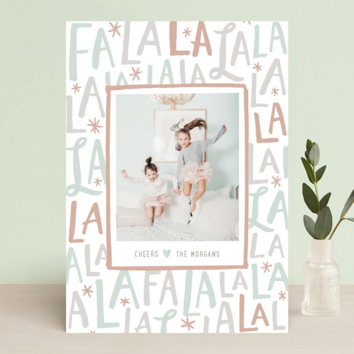 """Festive FaLaLa"" - Holiday Photo Cards in Mint by Hooray Creative."