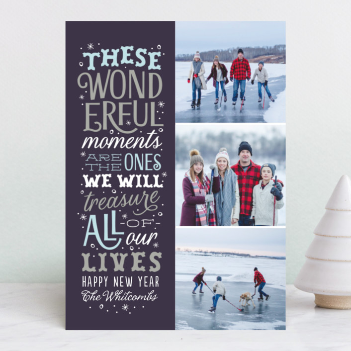 """Wonderful Moments"" - Holiday Photo Cards in Cranberry by Sarah Brown."