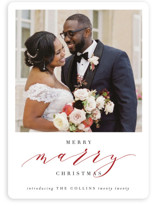 This is a red holiday photo card by Haley Warner called Merry Marry with standard printing on smooth signature in standard.