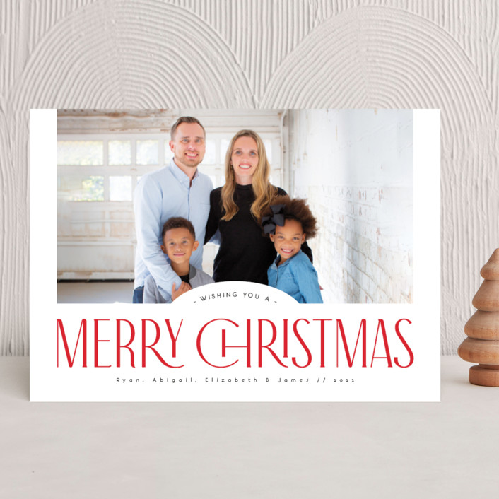 """""""Classic headline"""" - Vintage Holiday Photo Cards in Holly Berry by Kann Orasie."""
