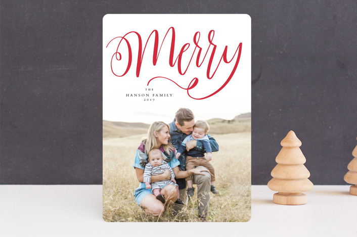 """Handlettered merry"" - Holiday Photo Cards in Cranberry by Lea Delaveris."