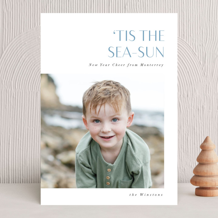 """""""Tis the Sea-Sun"""" - Funny Holiday Photo Cards in Teal by Corinne Malesic."""