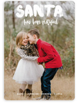 This is a white holiday photo card by Alex Elko Design called Santa Has Been Notified with standard printing on smooth signature in standard.