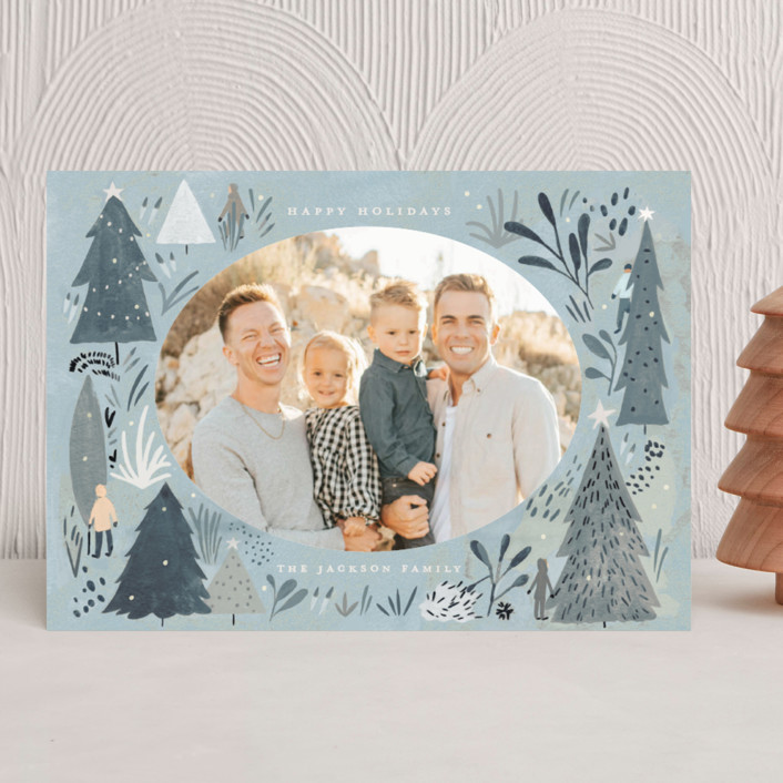 """""""Wonderland Forest"""" - Bohemian Holiday Photo Cards in Seafoam by Morgan Ramberg."""