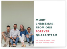 This is a green holiday photo card by Toast & Laurel called The Quaranteam with standard printing on smooth signature in standard.