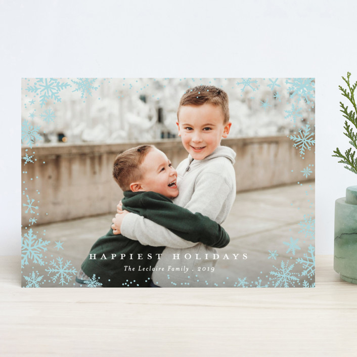 """Wonderland"" - Holiday Photo Cards in Aqua by Design Lotus."