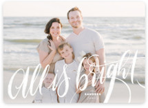 This is a white holiday photo card by Pink House Press called All is Bright with standard printing on smooth signature in standard.