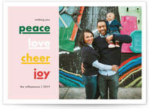 This is a pink holiday photo card by Alyssa Graves called Holiday Well Wishes with standard printing on smooth signature in standard.