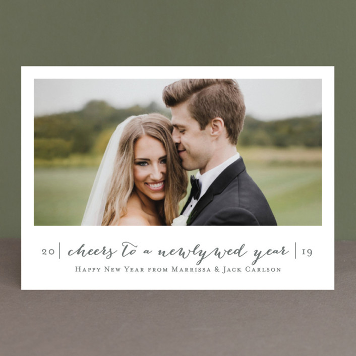 """Married Little Christmas"" - Holiday Photo Cards in Silver Bell by Liz Conley."
