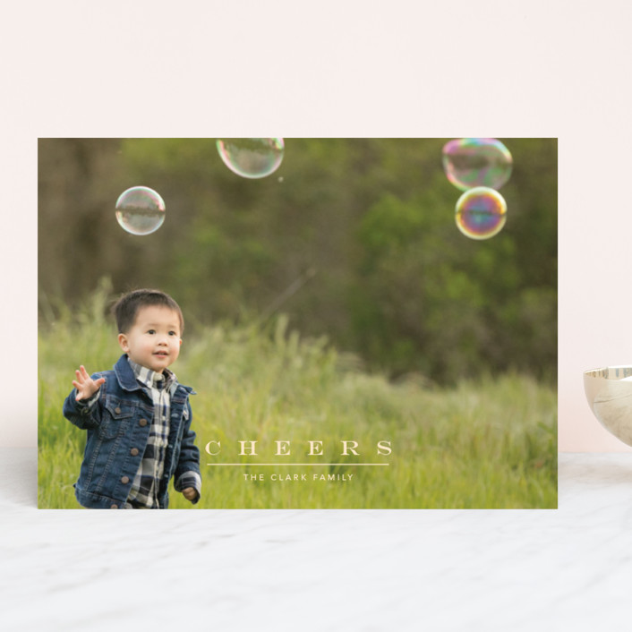 """""""Classic & Serene"""" - Holiday Photo Cards in Maize by Jennifer Lew."""