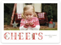 This is a red holiday photo card by Wildfield Paper Co. called Joyful with standard printing on smooth signature in standard.