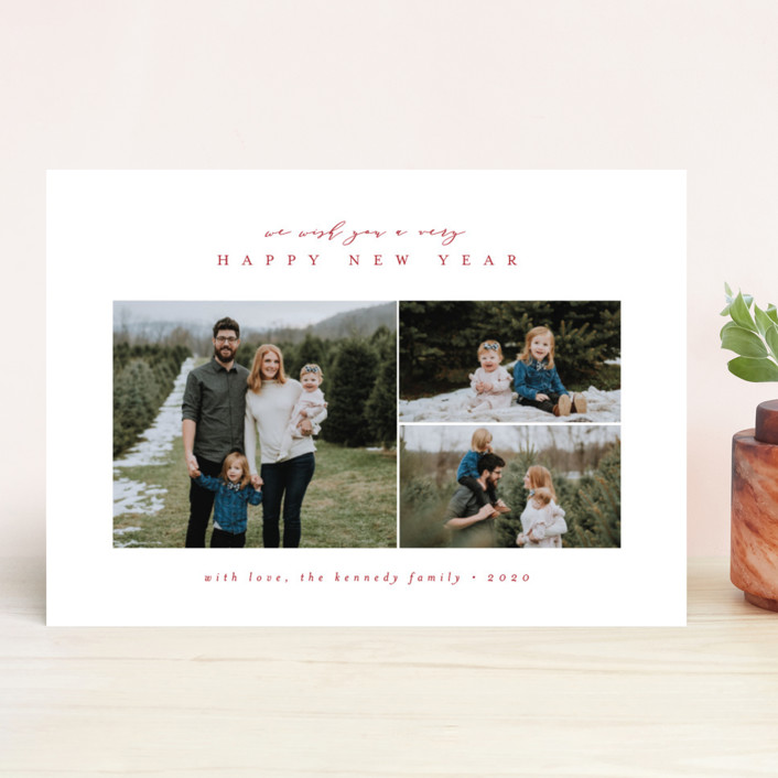 """""""Classically Christmas"""" - Holiday Photo Cards in Candy Cane by peony papeterie."""