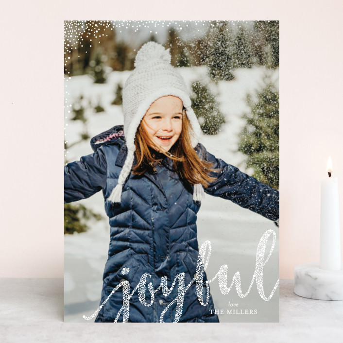 """Joyful Greeting"" - Holiday Photo Cards in Snow by Erin Deegan."