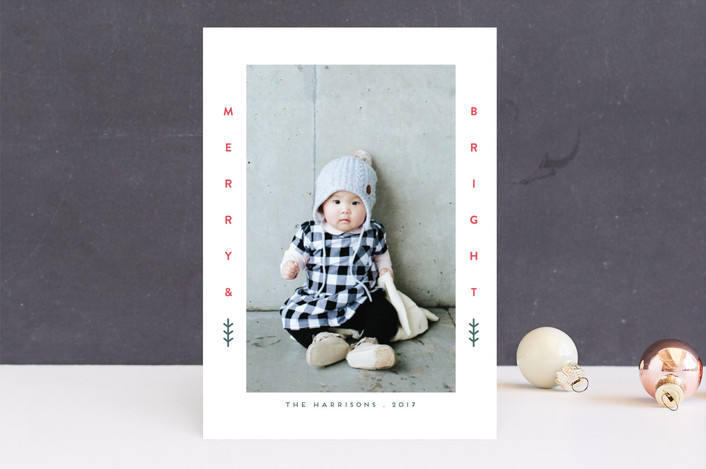"""Little Merry"" - Holiday Photo Cards in Berry by iamtanya."