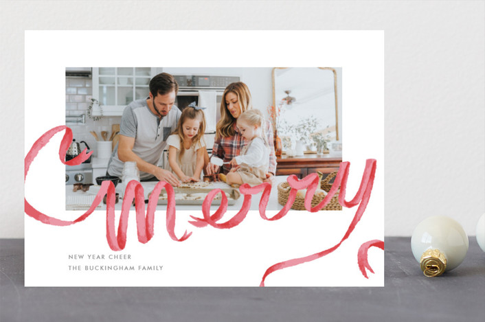"""""""Merry Ribbon"""" - Holiday Photo Cards in Holly by Lagniappe Paper."""