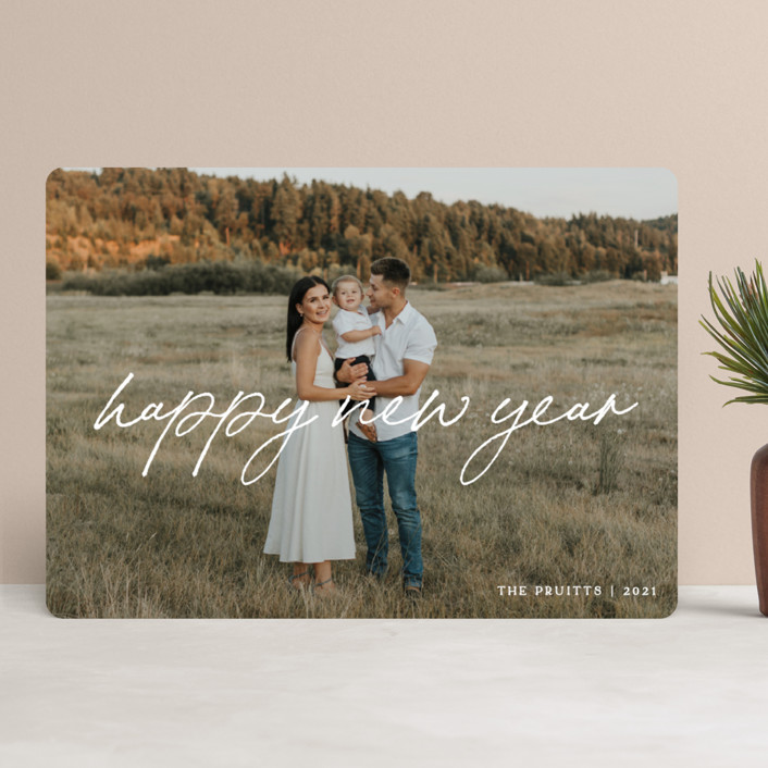 """""""Flowing Penmanship"""" - Modern Holiday Photo Cards in Snow by Owl and Toad."""