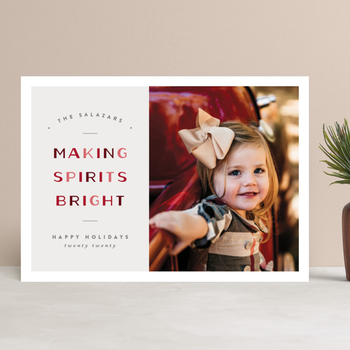 """Making Bright"" - Vintage Holiday Photo Cards in Candy Cane by Pixel and Hank."