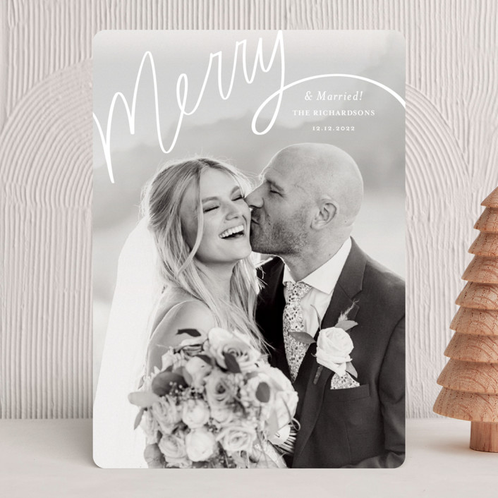 """""""Merry Hand Lettered Script"""" - Modern Holiday Photo Cards in Wedding Cake by Becky Nimoy."""