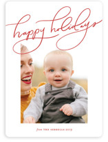 This is a red holiday photo card by Stacey Meacham called Modern Whimsy with standard printing on smooth signature in standard.