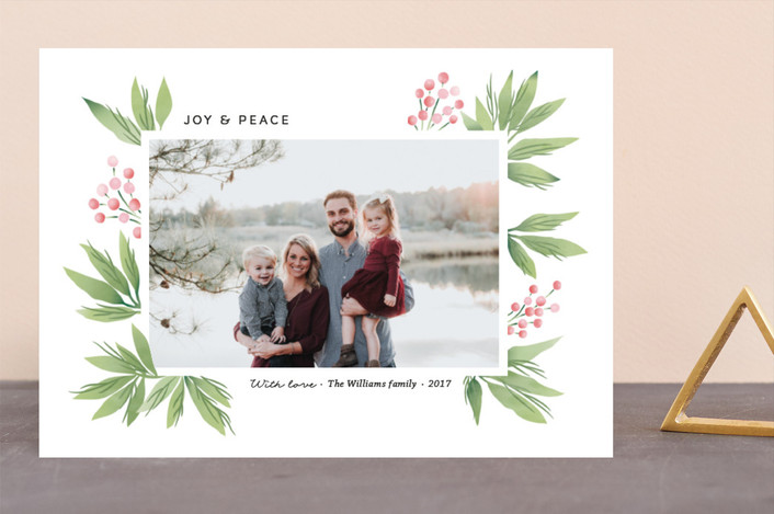 """Festive Conifers"" - Holiday Photo Cards in Rose by Stylisti."
