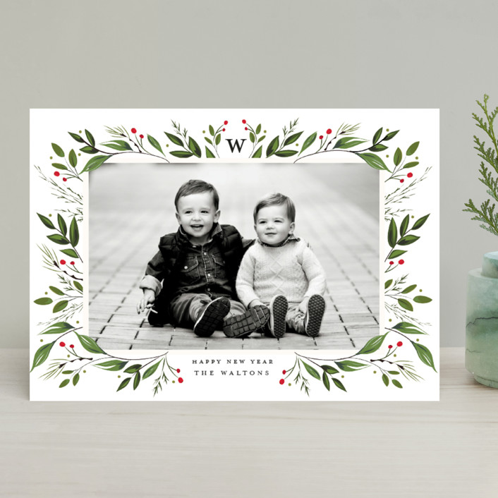 """Holiday Framed"" - Holiday Photo Cards in Raspberry by Susan Moyal."