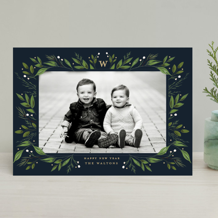 """""""Holiday Framed"""" - Holiday Photo Cards in Navy by Susan Moyal."""